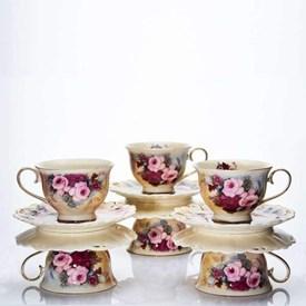 Jual Cangkir Burgundy Rose CAPODIMONTE 6pcs