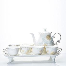 Jual Tea Set Keramik CAPODIMONTE Motif Bunga  LSH-OD-05