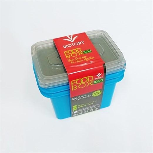 Wadah Penyimpanan Makanan VICTORY Grey Blue 1000ml