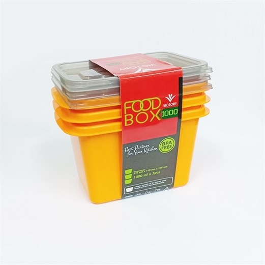 Wadah Penyimpanan Makanan VICTORY Grey Orange 1000ml