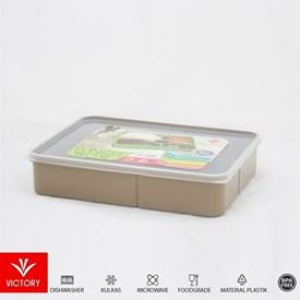 Jual Kotak Makan Catering VICTORY Lunch Box 5 Sekat - Cokelat