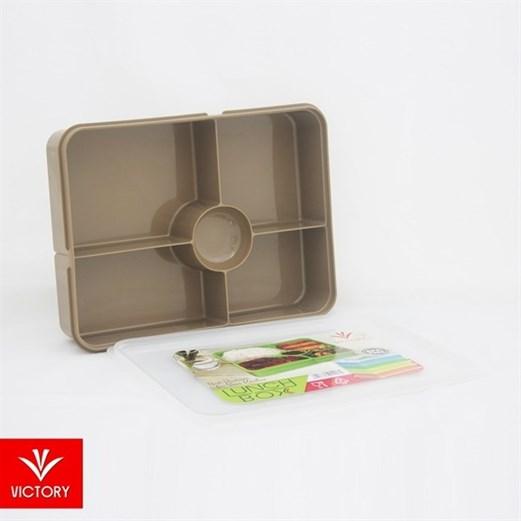 Kotak Makan Catering VICTORY Lunch Box 5 Sekat - Cokelat