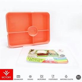Jual Kotak Makan Catering VICTORY Lunch Box 5 Sekat - Peach