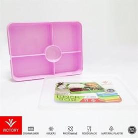 Jual Kotak Makan Catering VICTORY Lunch Box 5 Sekat - Pink