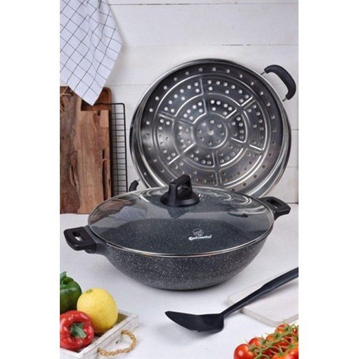 Wajan Wok With Steamer 36cm CONTINENTAL CWI 236