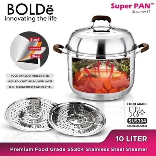 Panci BOLDE Super PAN SS 304 Stainless Steel STEAMER 10 Liter