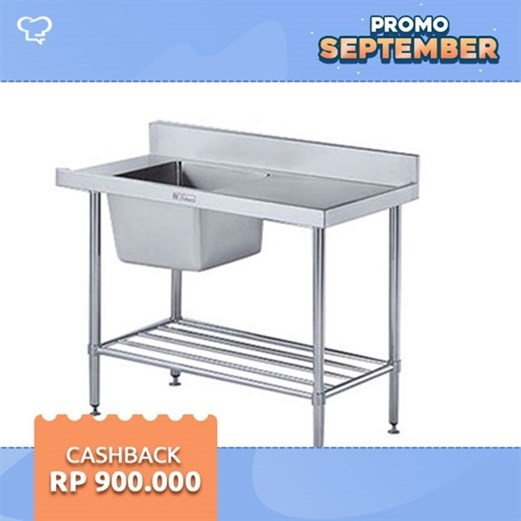 Bak Cuci Piring Selang Inlet SIMPLY STAINLESS 1500x600x400 (TOP SINK ONLY)