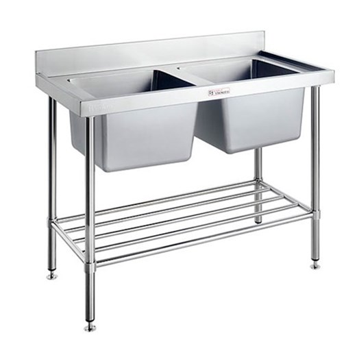 Double Sink Bench With Splash Back Simply Stainless 1800 X 700 900